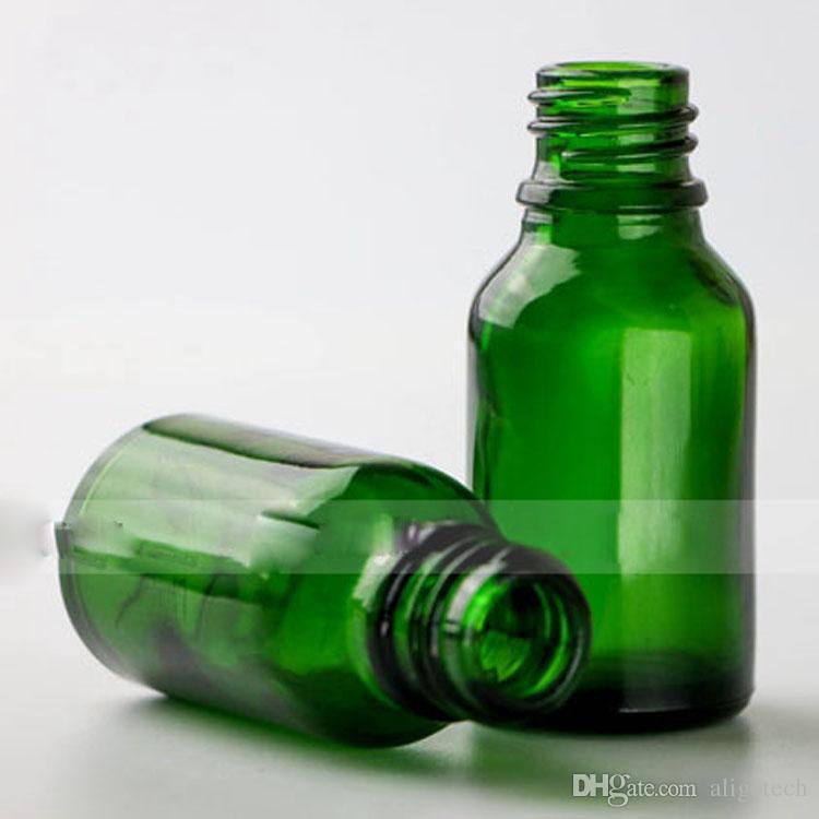 Factory Directly Glass Empty 15ml Dropper Bottle For Essential Oils, Green 15ml E-liquid Glass Dropper Bottles