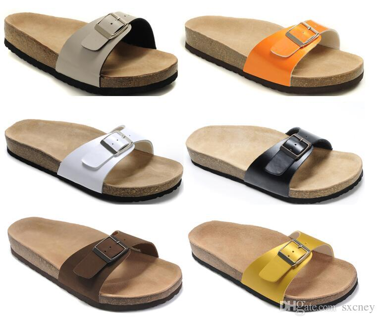 abf0f81eeb716a New Beach Sandals Cork Slippers Women Sandals Genuine Leather ...