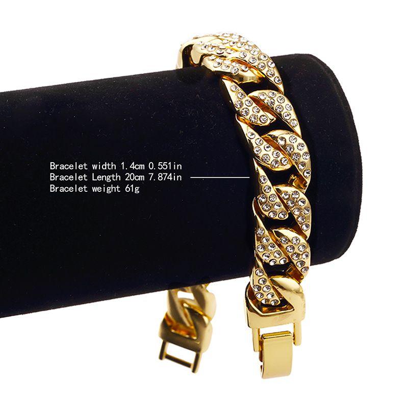 Hot sale Hip hop Pharaoh Cuban Chain Bracelet Full Rhinestones Bangle Bling Imitation diamond Chains Link Wristbands Men Women Gift Jewelry