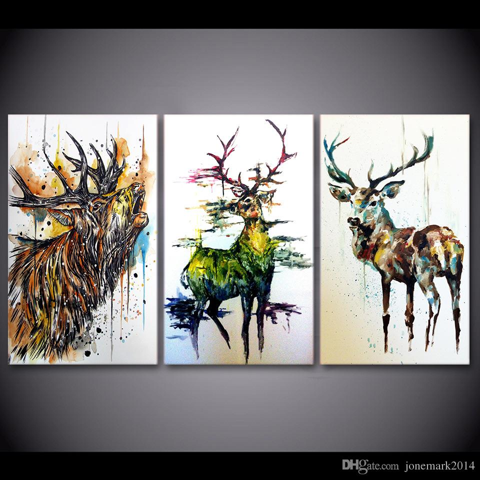 Discount graffiti wall pictures 2017 pictures cartoon wall 3 pieces elk graffiti deer animal wall art canvas pictures for living room bedroom home decor printed canvas paintings amipublicfo Choice Image