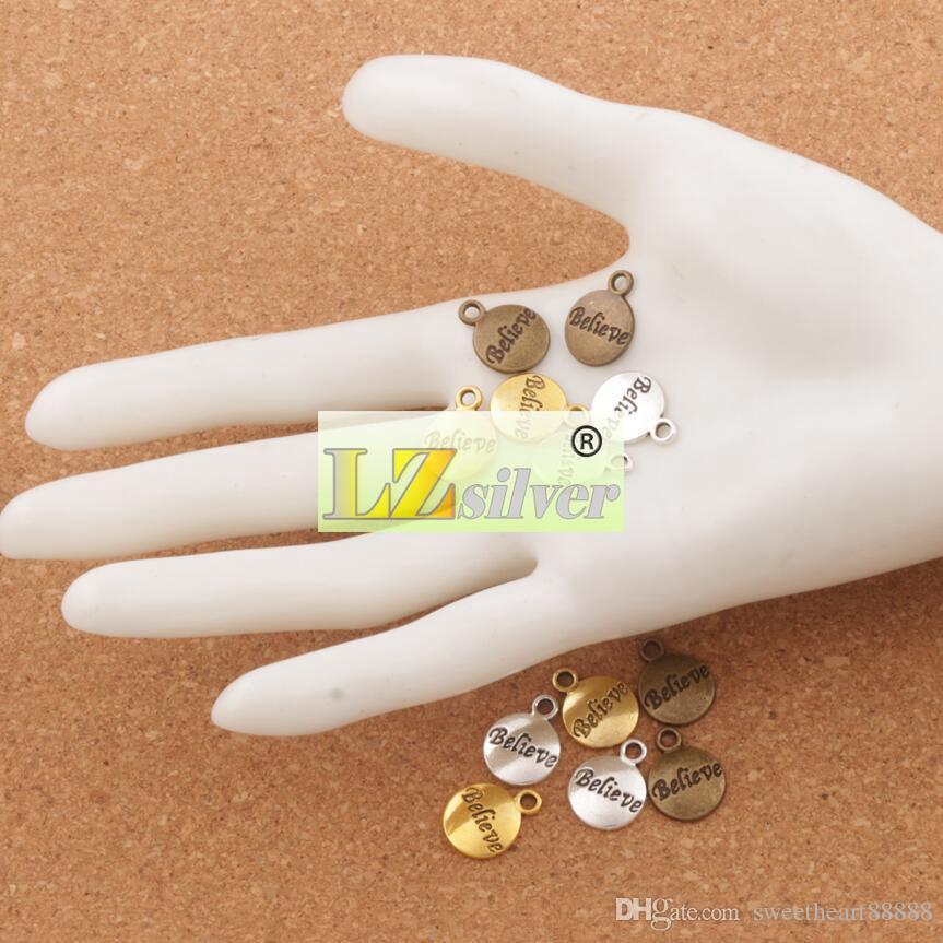 Yuvarlak Spacer Charm Boncuk 300 adet / grup inanıyorum 15.4x11.8mm Antik Gümüş / Altın / Bronz Kolye Takı DIY L350 LZsilver
