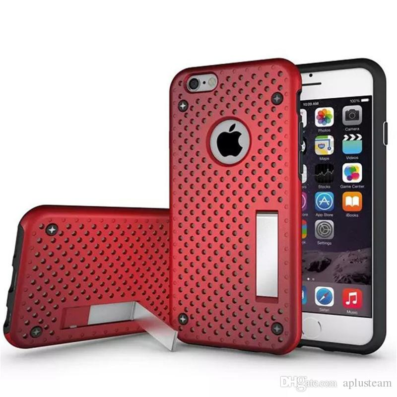 brand new 70db7 f5604 Hard Firm Mesh Protector Phone Cases Heat Radiation PC Hard Back Cover With  Holder Stand For Iphone 6 6S Plus Skin Shell