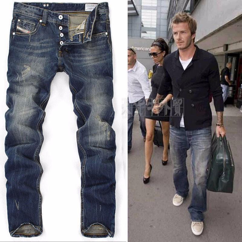 04f1038c3 2017 men fashion pants boys jeans Men's button white print edges slim jeans  free ship 9003777