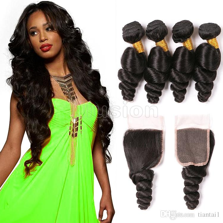 Illusion 100 Virgin Hair Human Hair Extensions 4 Bundles With Lace