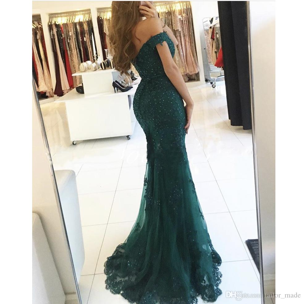 2019 Designer Dark Green Off the Shoulder Sweetheart evening gowns Appliqued Beaded Short Sleeve Lace Mermaid Prom Dresses
