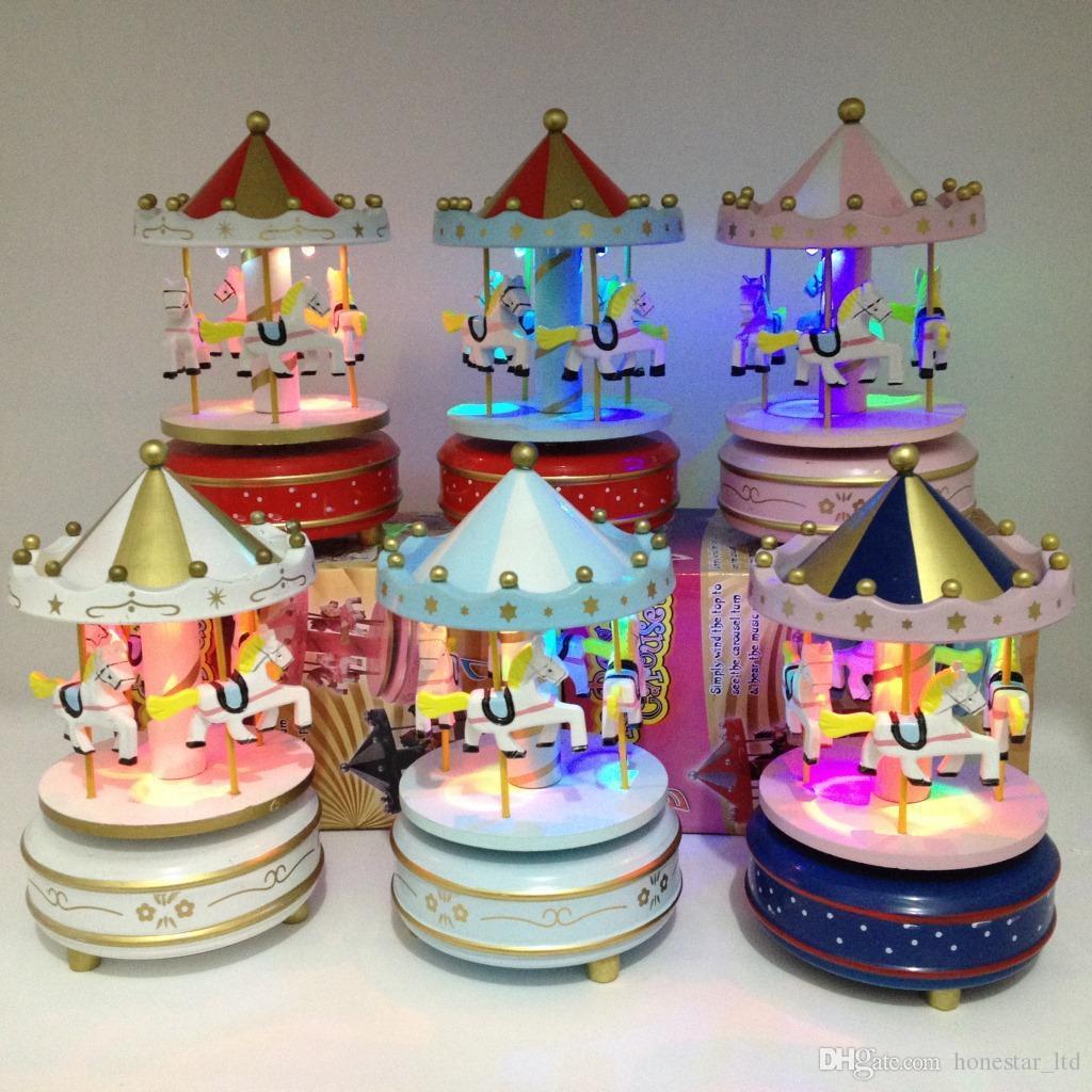 Led Light Carousel Music Box For Kids Wedding Gift Toy Merry Go