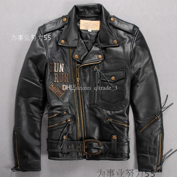 2017 Avirex Leather Jackets Men Big Lapel Zipper Lathe Suits 100 ...