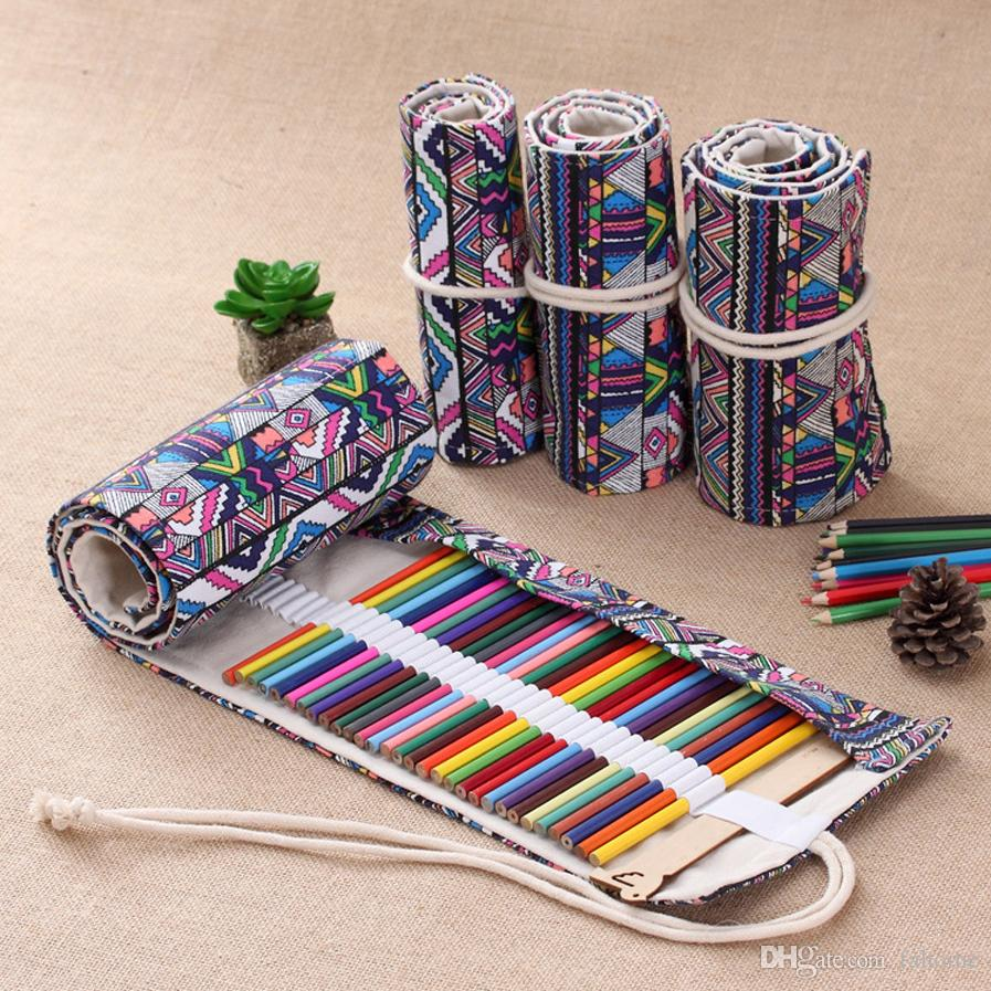 36/48/72/108 Holes Beautiful Canvas Pencil Case Bag Holder - Roll Up Makeup Pen Brushes Color Pencil Case Pouch Stationery