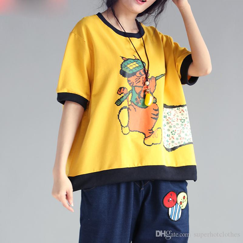 532bf6c86aa New Big Size Summer Style T-Shirt Women Cute Cartoon Print Linen ...
