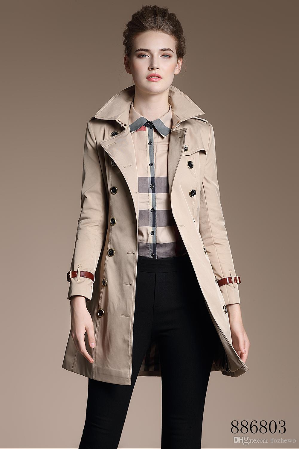 Spring Autumn New High Fashion Brand Woman Classic Double Breasted Trench Coat Waterproof Raincoat Business Outerwear