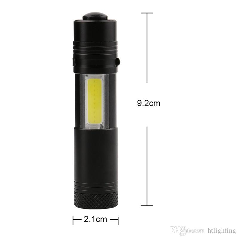 Newest Mini Portable 2 in 1 Outdoor Camping LED Flashlight Pen Torch COB Work Light Lamp Power by AA 14500 Battery