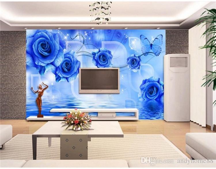 3D stéréo salon papier peint non tissé simple TV moderne fond papier peint chambre bleu frais grande fresque bleue interdictions