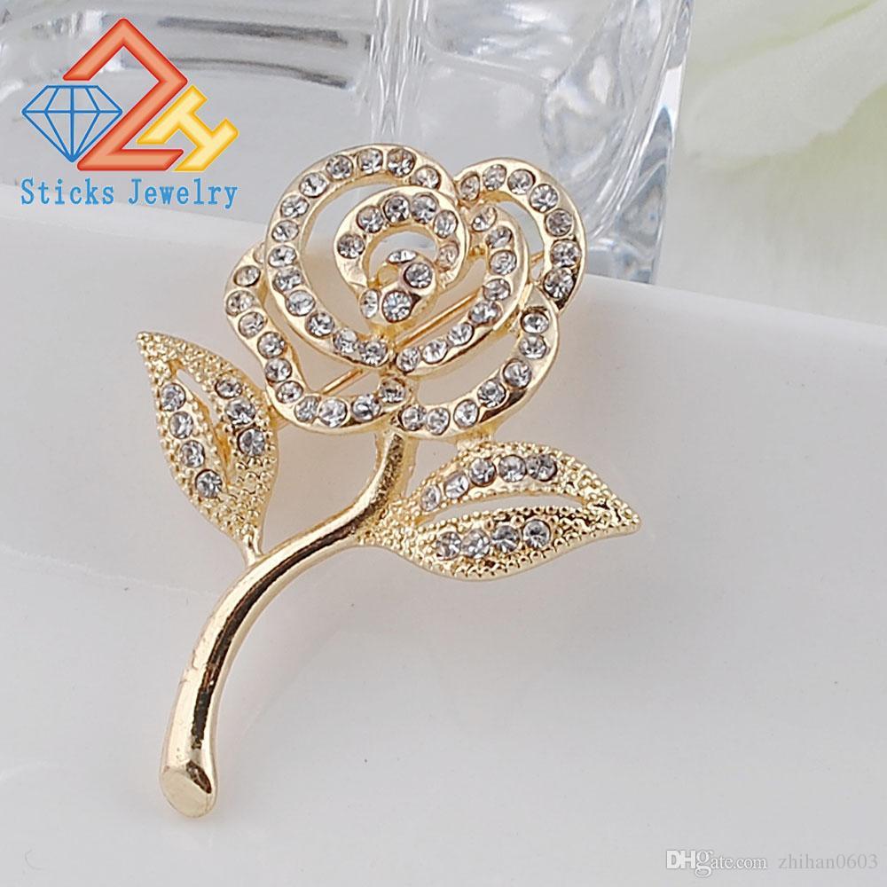 Новое поступление кристалл роза брошь позолоченные элегантные булавки булавки милые ювелирные изделия горный хрусталь броши