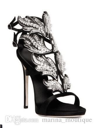 2017 Winge Kelebek Yaprak Kadın Sandalet Rhinestone Stiletto topuklu Yaz Gladyatörler Hakiki deri Strappy Altın Düğün Parti Elbise Ayakkabı