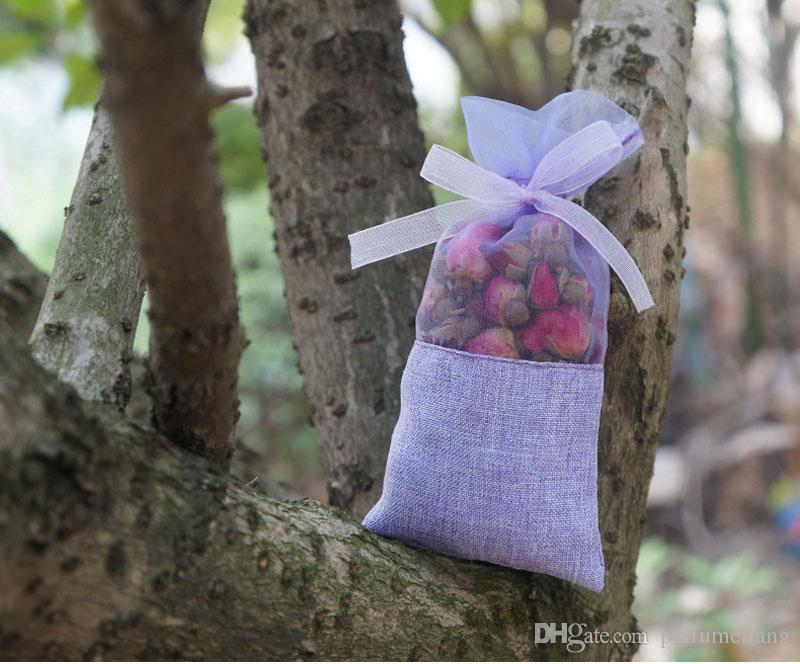 15*7.2cm Lavender Burlap Organza Gift Bags For Dried Flower Tea Wedding/Christmas Party Decoration Gift Bag ZA4056