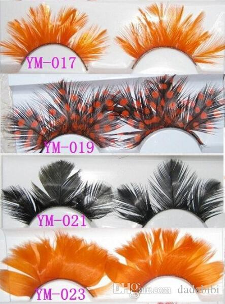 E NEW ARRIVAL International color feathers exaggerated false eyelashes Modelling pictorial art show colored eye lashes extension stage