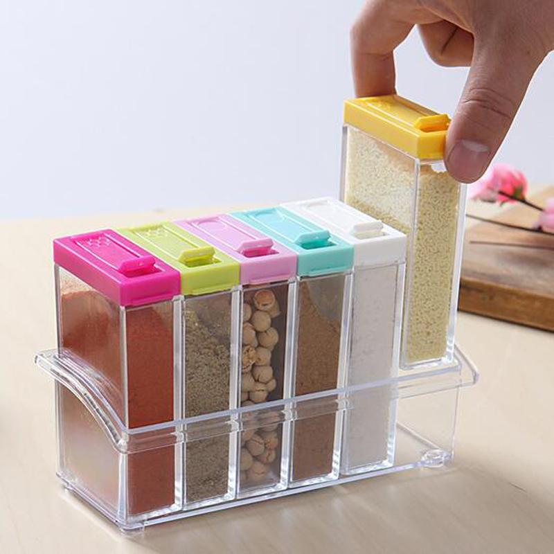 Wholesale- Kitchen Supplies 6pcs Transparet Plastic Seasoning Box Case Condiment Bottles Set Salt Spice Jar Spices Storage Box Kitchen Tool