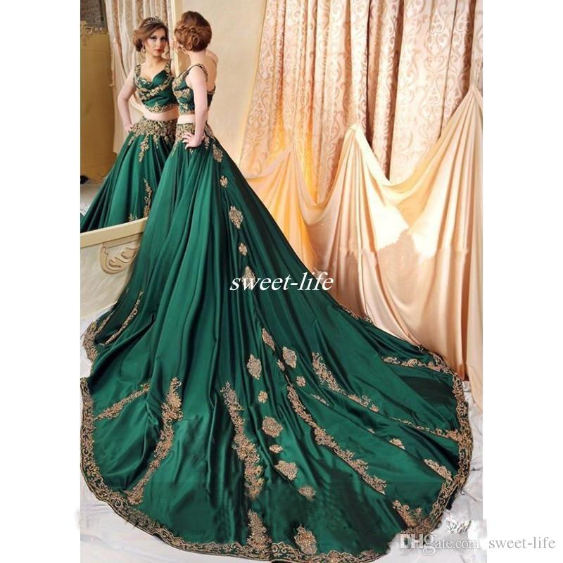 Indian Dubai Abaya Green Evening Dresses with Gold Lace Appliques Prom Gowns Sexy Saudi Arabic Gowns Vestido De Festa 2017 Fall