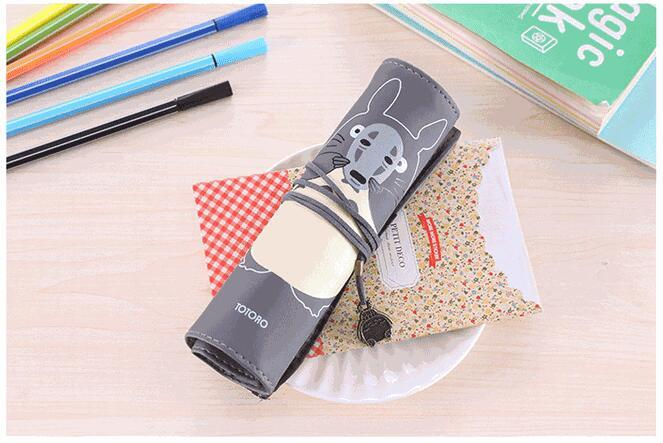 Cartoon Totoro roll up pencil case school supplies stationery pencil bag for kids Birthday gift