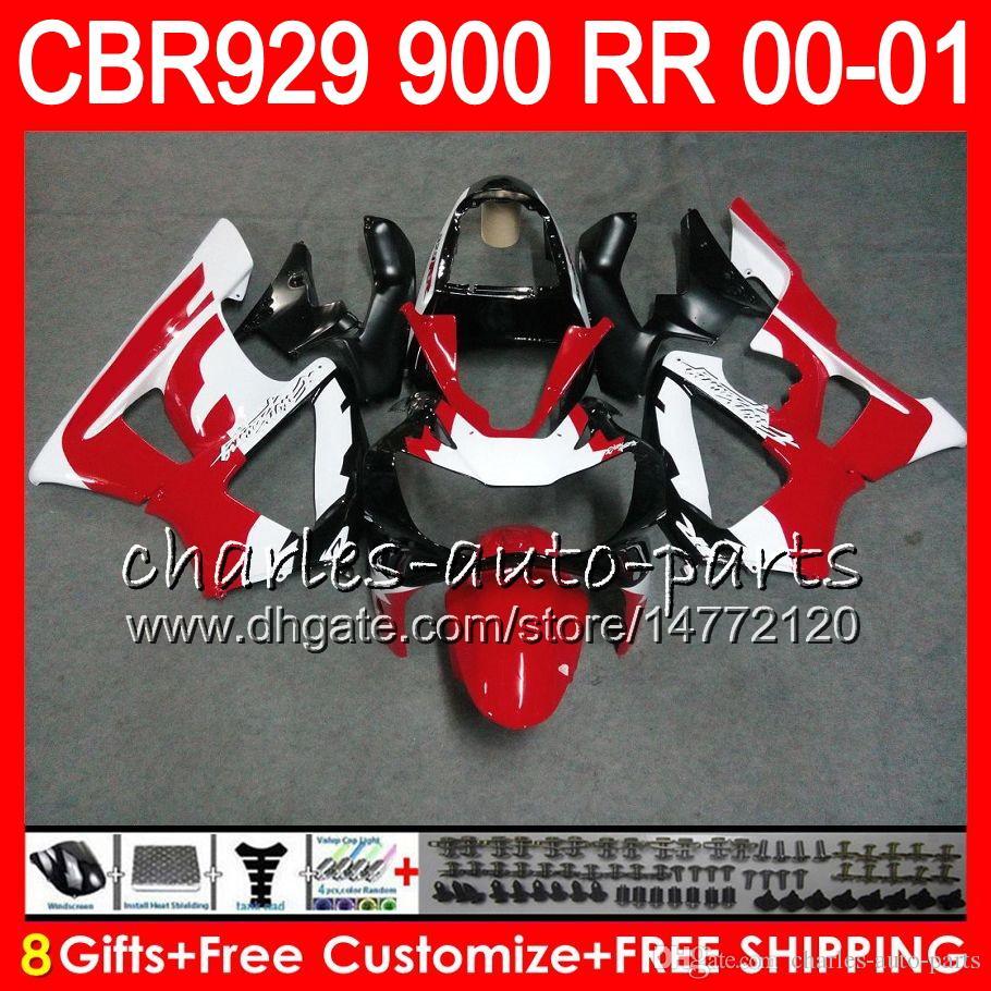 Cuerpo para HONDA CBR 929RR CBR900RR CBR929RR 00 01 CBR 900RR TOP Rojo blanco 67NO15 CBR929 RR CBR900 RR CBR 929 RR 2000 2001 Kit carenado 8Gifts