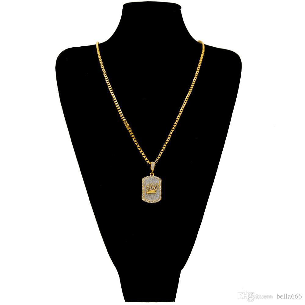 Lega di ferro Hip-Hop in lega placcata oro 3mm 100 Gesù Collana con ciondolo militare da donna con strass Collana nera