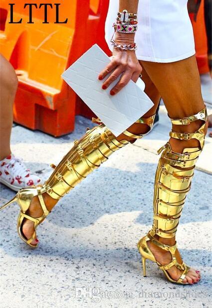 Fivelas de ouro de prata mulheres cruzam cavaleiro legal sandália botas sobre o joelho de salto alto peep toe senhoras longas botas de gladiador