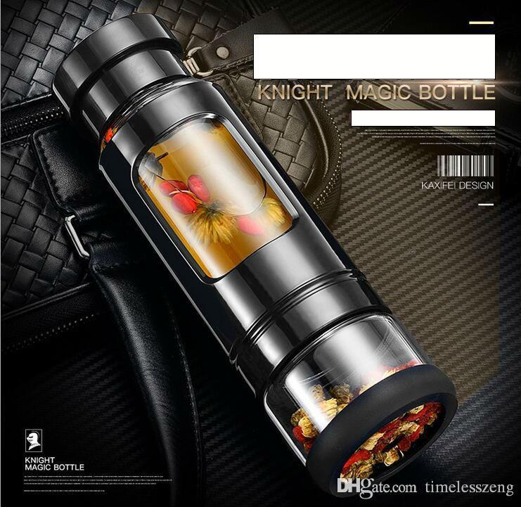 2016 noble glass knight cup high-end tazza di plastica magica bottiglia di acqua sport all'aperto doppio con materiale PP