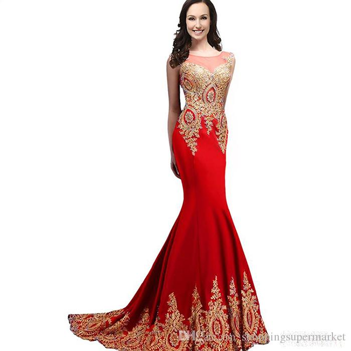 Mermaid'S Formal Evening Dresses Gold Lace Decals 2017 Sexy New ...