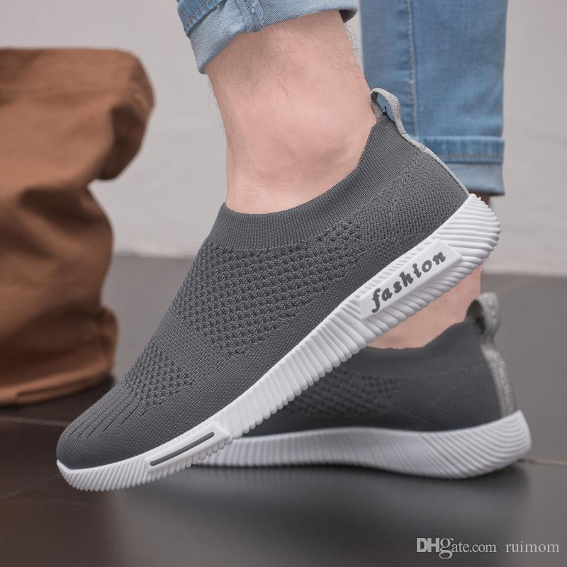 02d1e5c386dd4e The New Summer Men S Leisure Fabric Breathable Minimalist Fly Mesh Shoe Male  Korean Lightweight Men Shoes Fashion Shoes Man Lazy Coconut Yellow Shoes  Gold ...