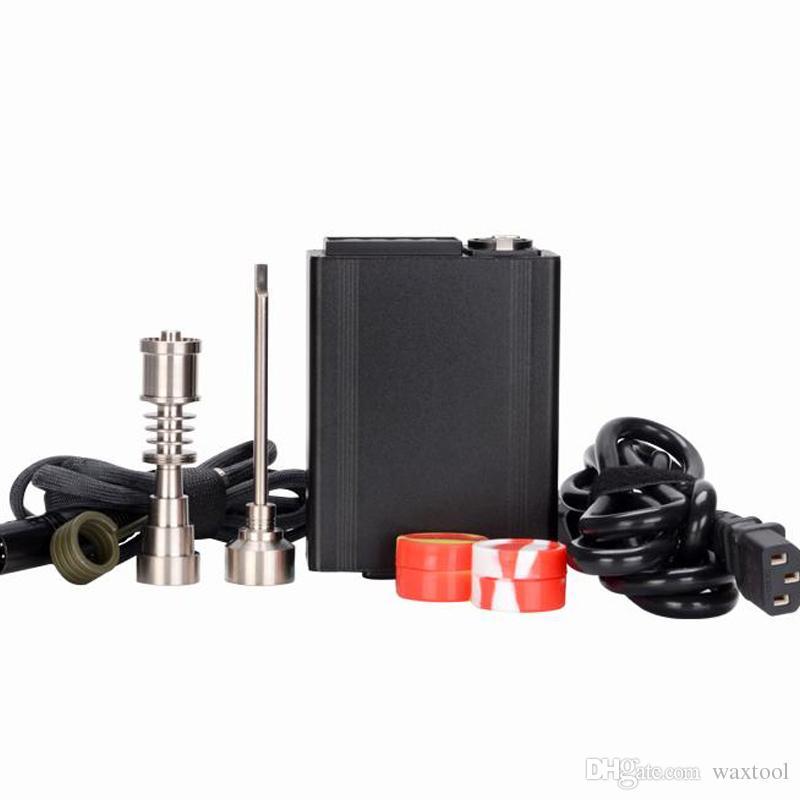 Lengua eléctrica portátil Nail E Cuarzo banger Nail Titanium Vapor Wax Dry Herb Electronic dab rig Controlador de temperatura Box fit para
