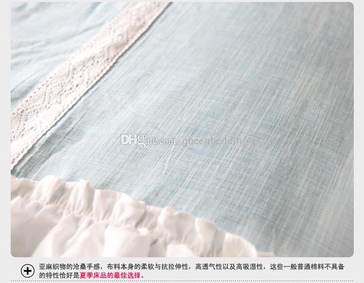 Blu scompiglia principessa Bedding 4 pezzi set di cotone Duvet federa copertura imposta dimensioni ragazze Re Regina Casa Letto DOLCE Bedskirt trasporto libero