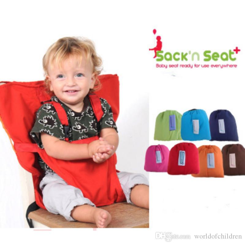 6d567b9e8c0 2019 Sack N Seat Portable Travel High Chair Booster Baby Seat Harness  Washable Cloth Packable Sack For Infants And Toddlers From Worldofchildren