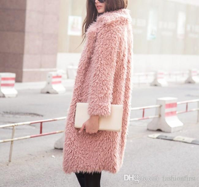2018 Faux Fur Powder Pink Alpaca Outwear Shaggy Fur Jacket Fake ...