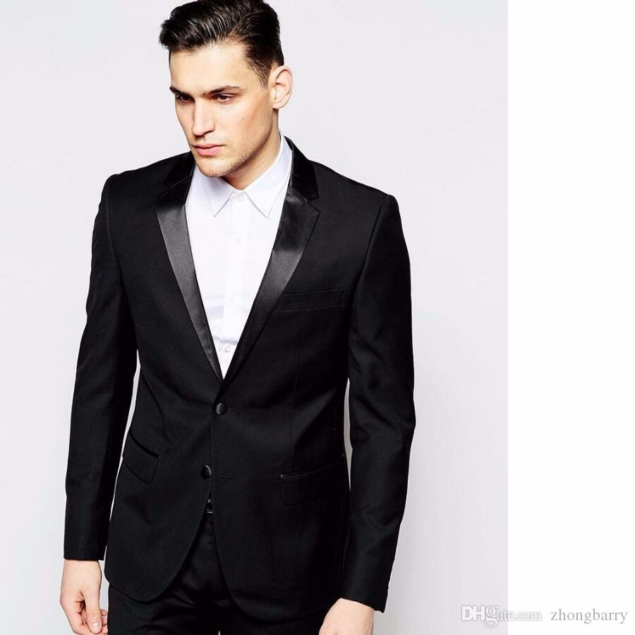 handsome casual man suit black groom tuxedos custom made