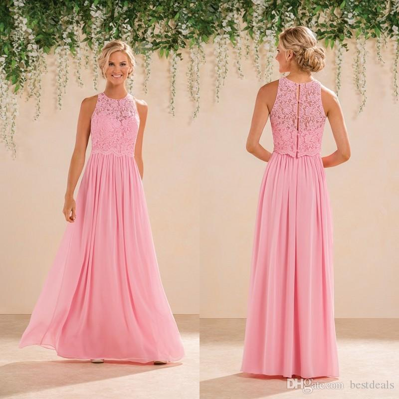 2017 Modest Peach Pink Lace Chiffon Long Bridesmaid Dresses Cheap