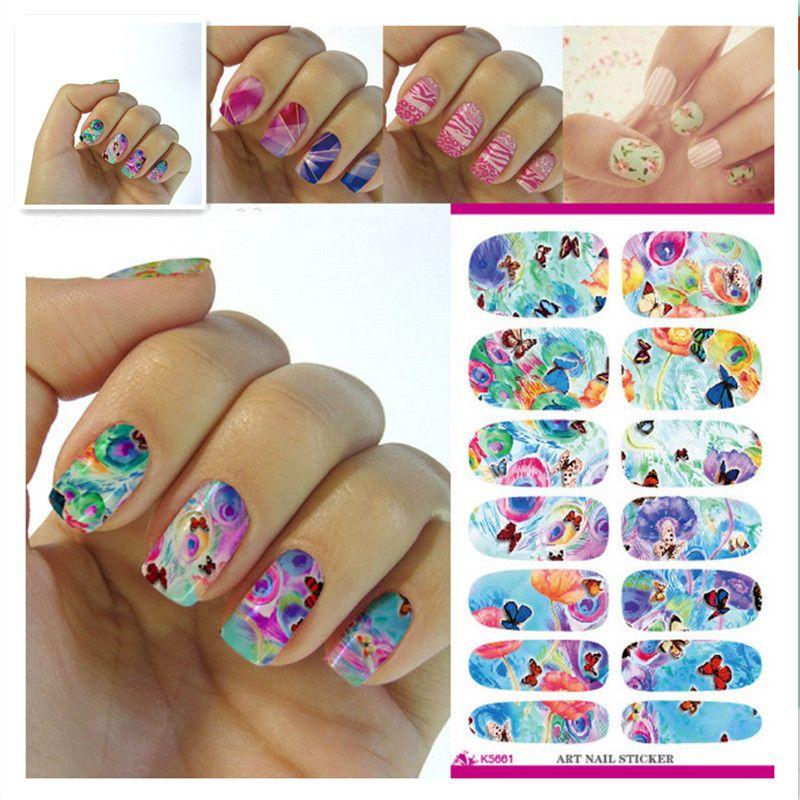 Wholesale K5661 Water Transfer Foil Nails Sticker Rainbow Butterfly
