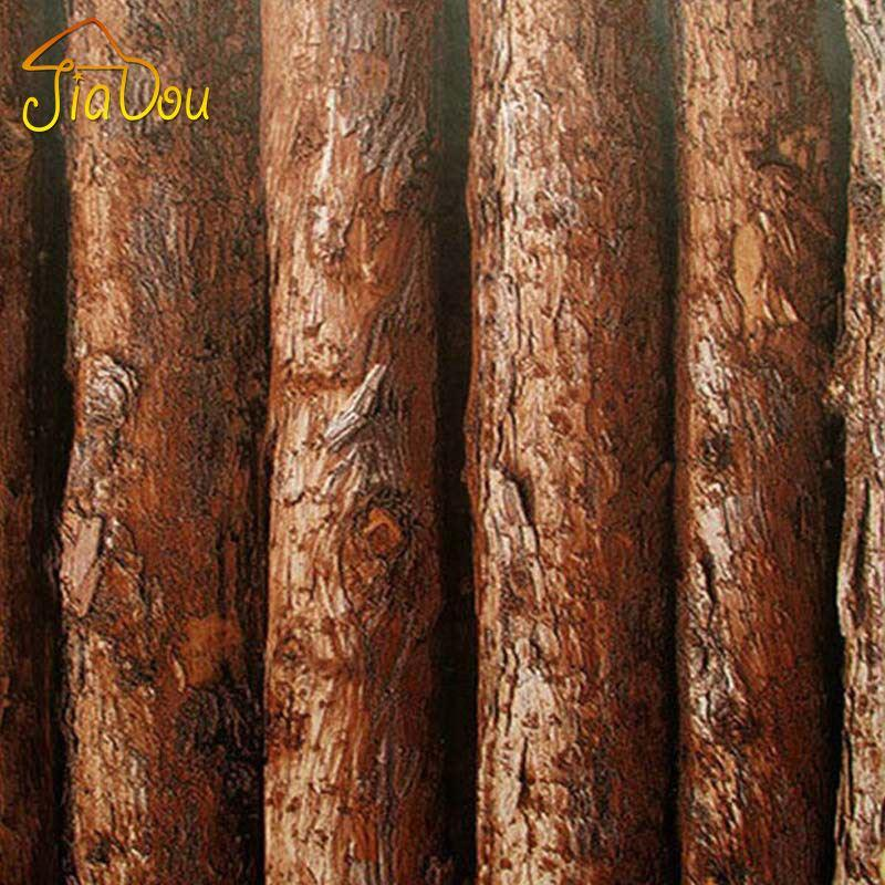 3d Simulation Bark Textured Vinyl Wallpaper Wood Tree Pattern