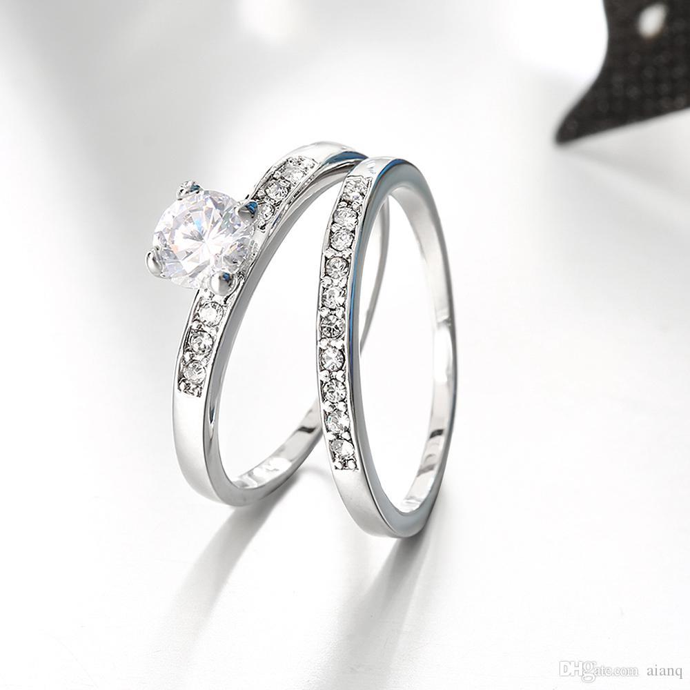 Großhandel Art Und Weise Klassischer Art Doppelt Ring Dame Kristall
