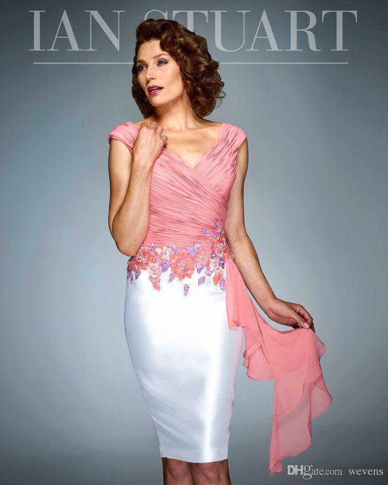 Robe de mère de mariée de la robe de mariée blanche et rose moderne au genou et col V
