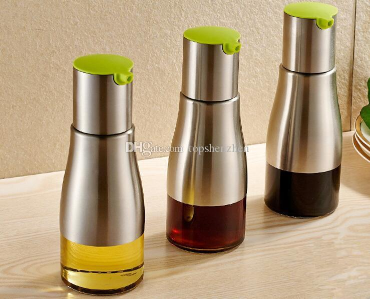 Funktionelle Olivenöl Flasche Sojasauce Essig Gewürz Lagerung Dose Glasboden 304 Edelstahl Körper Küche Kochen Werkzeuge