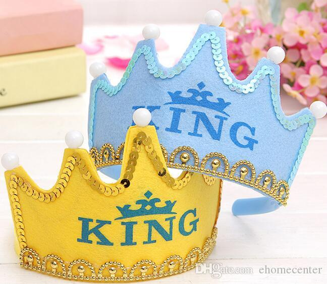 Birthday party hats LED light Happy Birthday Crown hair accessory prince princess for party decoration adult child cap hair band DHL HQ018