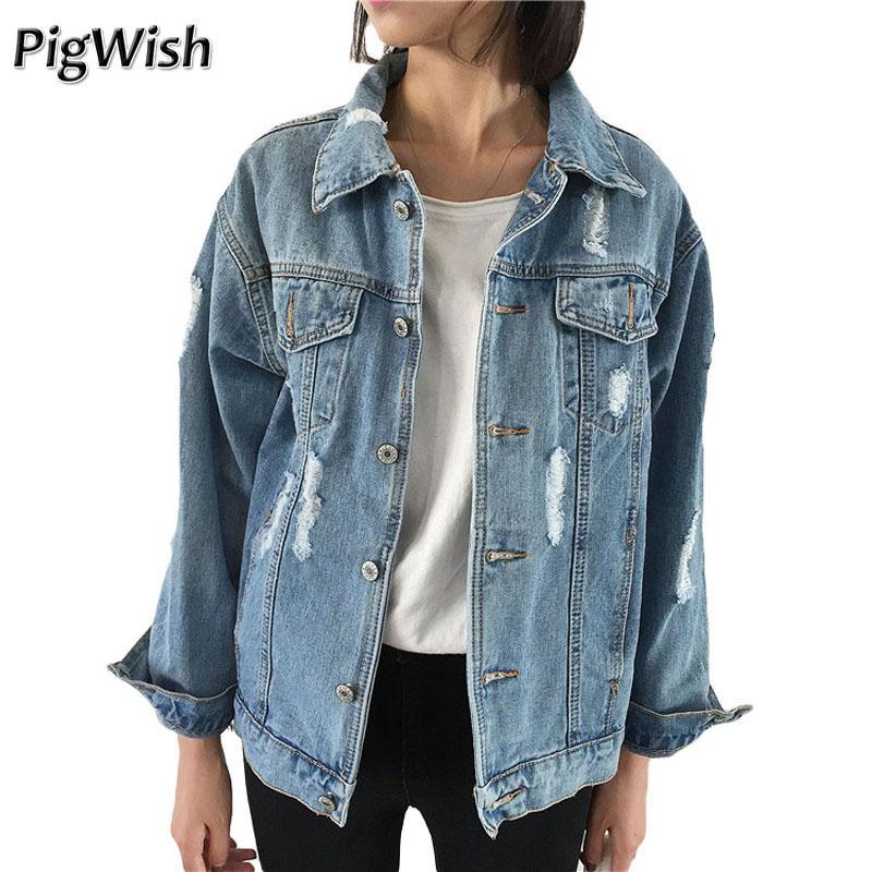 fcea6aca82a2 Women Oversize Denim Jacket 2017 Spring Autumn Jeans Jacket Women Long  Sleeve Casual Loose Vintage Basic Coats Overcoat Outwear Ladies Jackets  Black Jacket ...