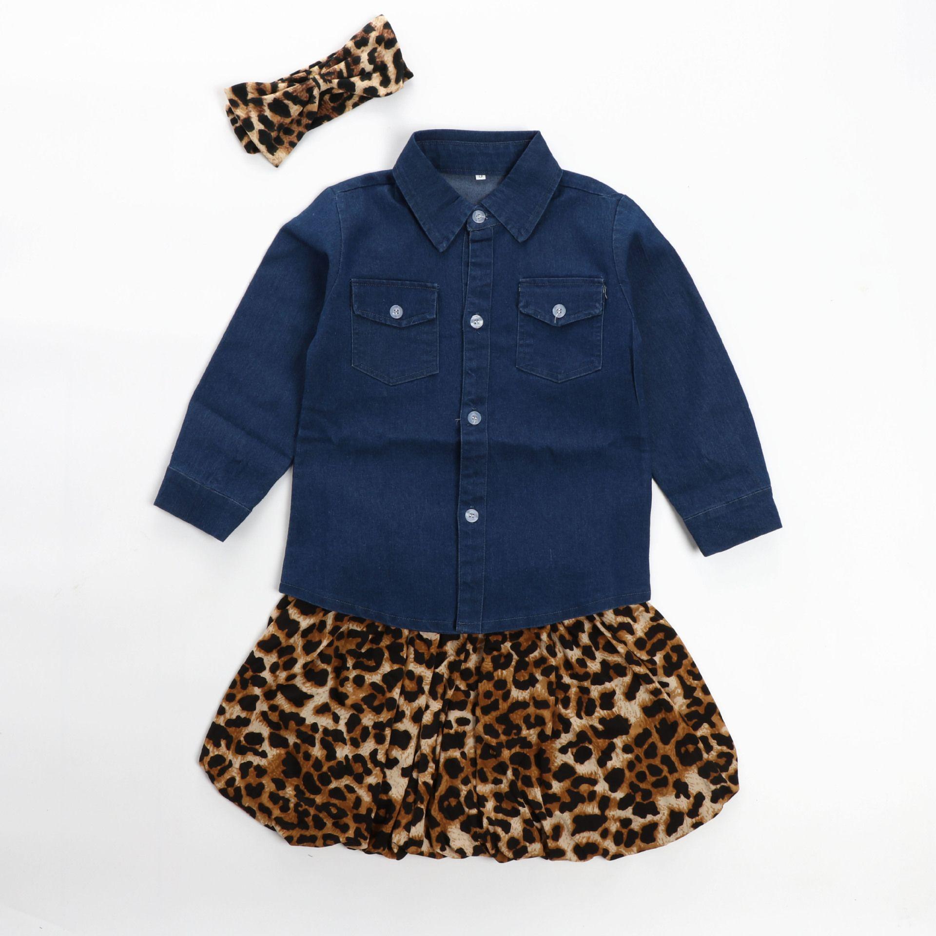 2017 New Child Girls Clothing Suit Kids Baby Denim Shirt + Leopard Skirt + Headband Children Outfits Girl Set 3064