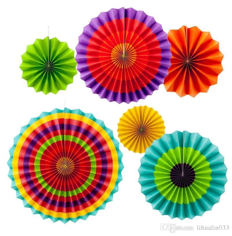 6 Unids / set Colorido Tejido de Origami Origami Tejido Plegable Ventilador Flor de Cumpleaños Del Niño Decoración de La Boda de La Boda fuente