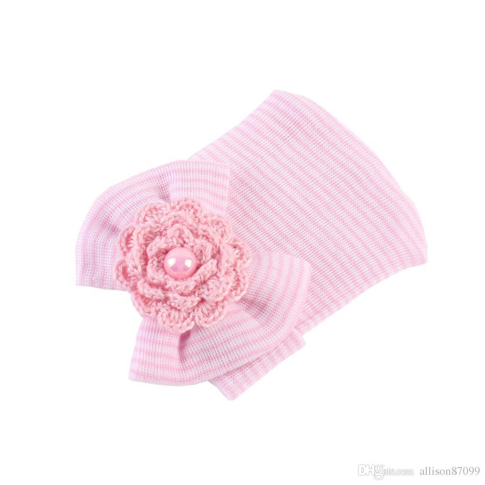 Bébé fille cheveux bow hat jumeaux nourrissons tricot beanie casquettes crochet fleur de coton maternité bébé accessoires printemps automne hiver en gros 0-3month
