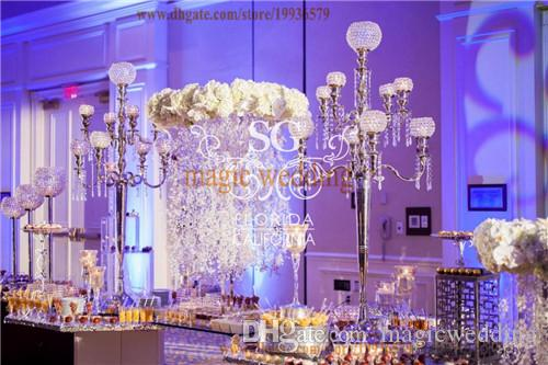 5ft Tall 9 Arm Crystal Globe Gold Floor Candelabra with hanging crystal bead For Home Party Decoration