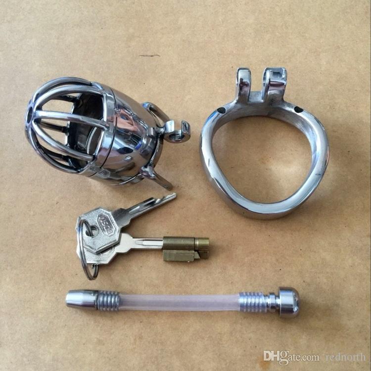 Il più nuovo design Lunghezza totale 70mm in acciaio inossidabile Piccolo dispositivo di castità maschile con catetere 2.75