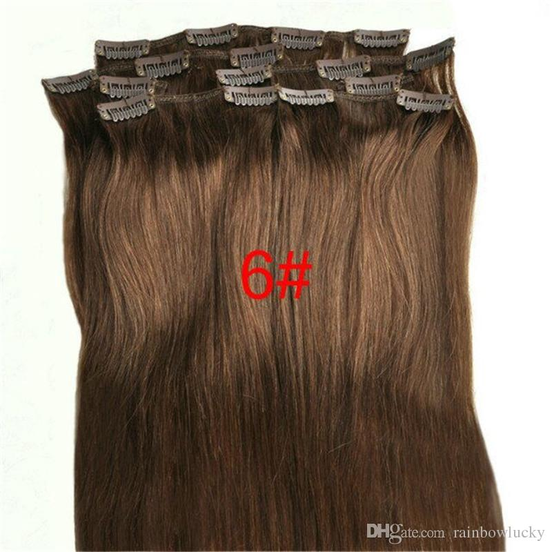 100g 18 28inch Clip In Hair Extensions Indian Remy Straight Human