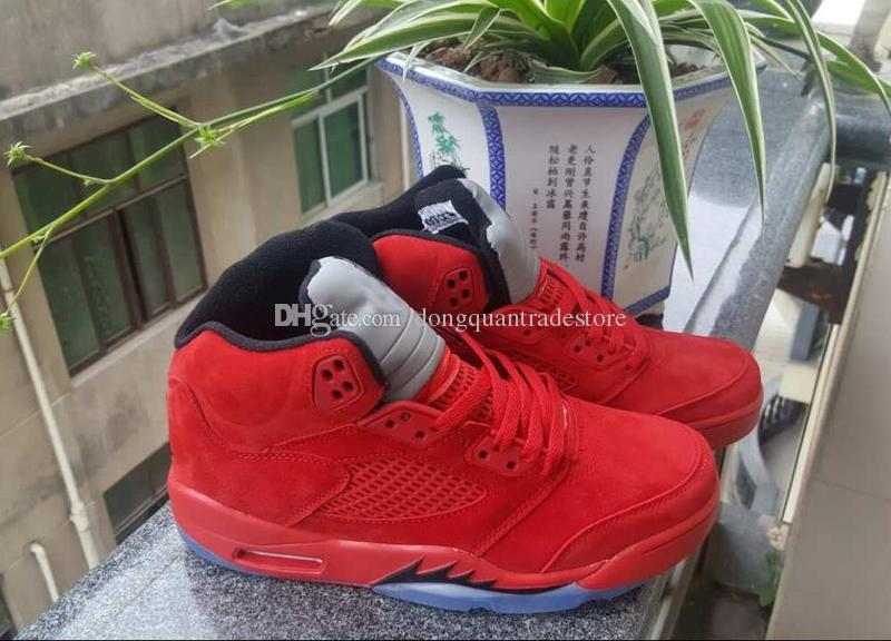 Men Raging Bull Red Suede Tongue Reflect Basketball Shoes 5s Bull Blue Sneakers Shoes
