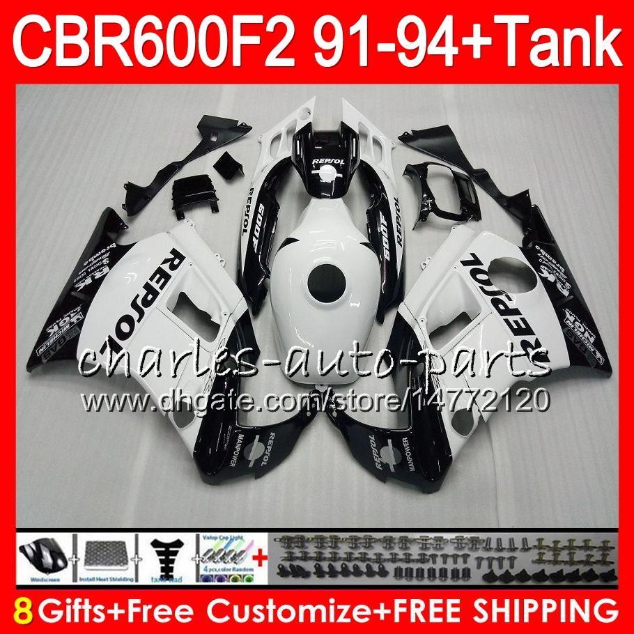 8 Gifts For HONDA CBR600F2 91 92 93 94 CBR600RR FS 1HM13 Repsol white CBR 600F2 600 F2 CBR600 F2 1991 1992 1993 1994 Fairing black